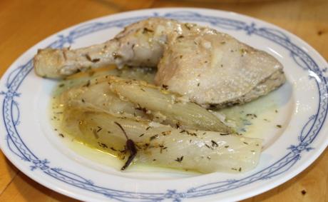 Huhn in Rieslingsauce