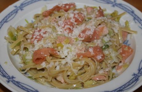 Pasta mit R�ucherlachs-Lauch-Sauce