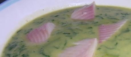 Petersiliensuppe mit geräucherter Forelle