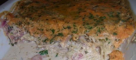 Sauerkraut-S��kartoffelauflauf